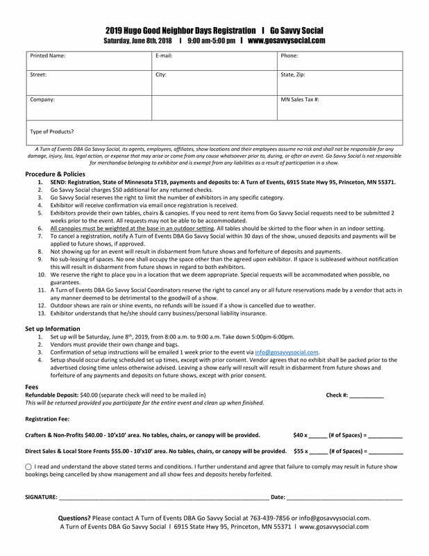 Hugo Good Neighbor Days Registration Forms - GO SAVVY SOCIAL